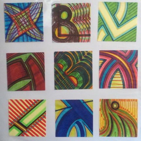 Original Post-It Notes Art (a set of 9)