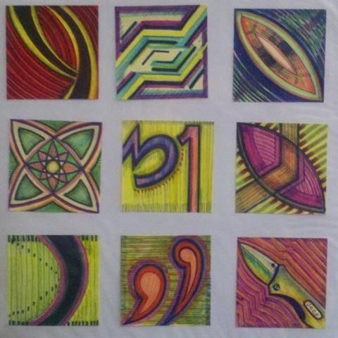 Original Post-It Notes Art (a set of 9)