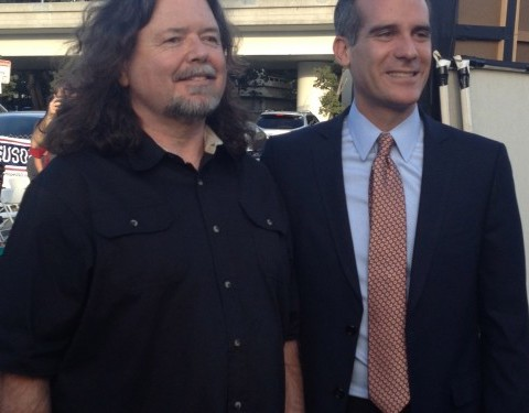 Greg with Los Angeles Mayor Eric Garcetti at Bob Hope USO Thanksgiving for the Troops