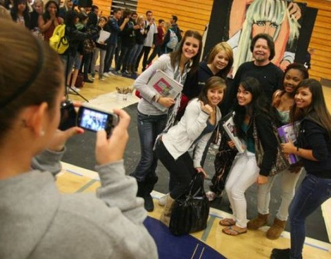 Posing with students after the performance