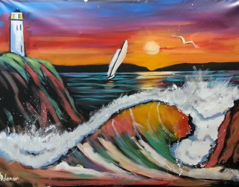 Palos Verdes performance painting (7ft by 5 ft)